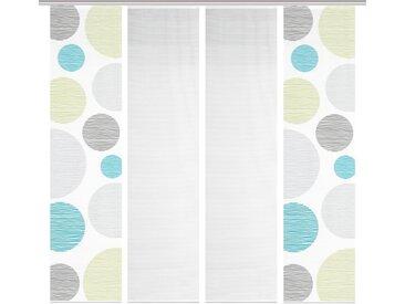 Schmidt Schiebewand Borden 4er-Set /Grün, 60 x 260 cm Polyester