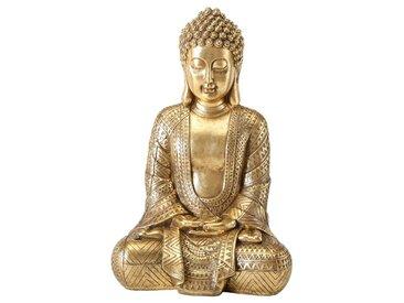 BOLTZE Deko-Objekt Buddha Jarven /Gold, 70 cm Holz, Textil, Natur