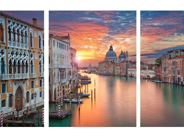 EUROART Glasbild 3tlg. Canal Grande /Orange, Glas