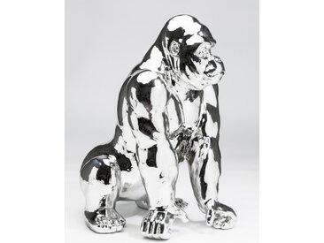 KARE Deko-Figur Gorilla /Silber, Kunststoff