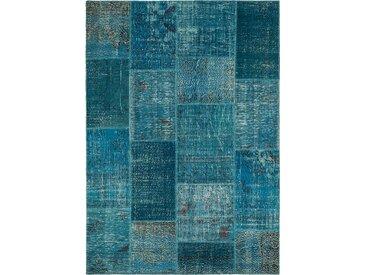 Vintage Teppich Patchwork 140 x 200 cm /Blau, Mischgewebe