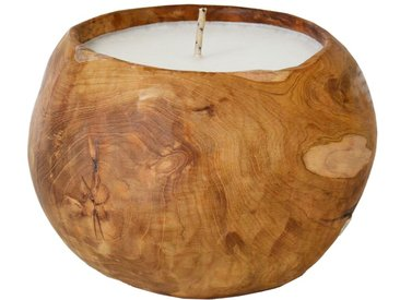 Outdoor-Kerze Hart, Teak, Ø 25 cm, Holz