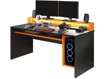 FORTE Schreibtisch Tezaur /Schwarz / Orange, Kunststoff