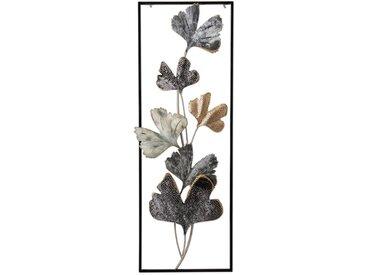 Wanddeko Blätter 31,1 x 89,5 cm /Grau, Metall
