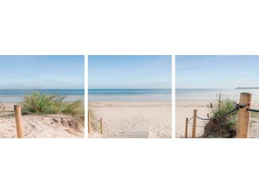 EUROART Glasbild 3tlg. Meet me at the Beach /Creme, Glas