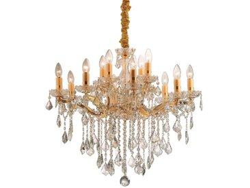 IDEAL LUX Pendelleuchte Florian SP12 /Gold, Kristall,