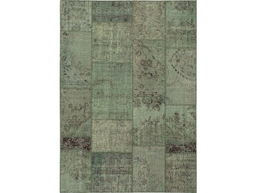 Vintage Teppich Patchwork 140 x 200 cm /Hellgrün, Mischgewebe