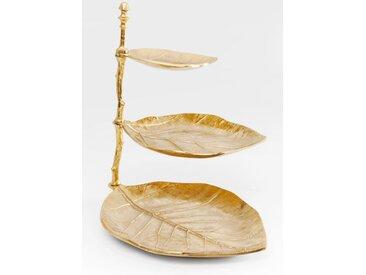 KARE 3-stöckige Etagere Leaf /Gold, Aluminium