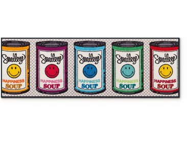 Wash+Dry Fußmatte Smiley HappyS 60 x 180 cm /Bunt, Polyamid