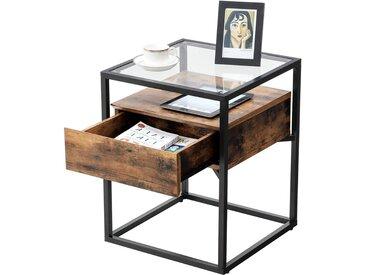 Nancys Pullman Beistelltisch mit Glasregal - Nachttisch mit