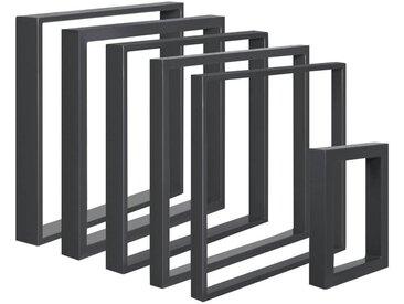 Design Tischkufen aus Vierkantprofilen 80x40 mm, Tischgestell, Tischbeine, 1 Stück, HLT-01-B-30 x 43 cm RAL 7016 Anthrazitgrau