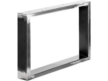 Design Tischkufen aus Vierkantprofilen 80x20 mm, Tischgestell, Tischbeine, 1 Stück, HLT-01-C-64 x 40 cm 0000 Rohstahl mit Klarlack