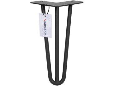 Haarnadel Tischbeine, 3-Stangen Bein, Tischkufen Tischfüße Hairpin Legs DIY, HLT-13A-25 cm RAL 9005 Tiefschwarz