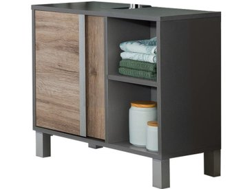 Stylife Waschbeckenunterschrank SPLIT, Grau, Holznachbildung