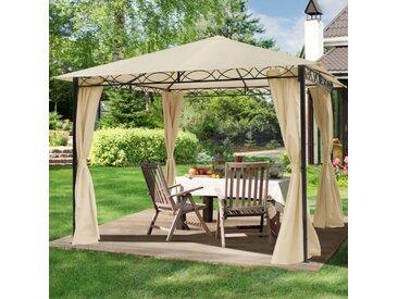 Gartenpavillon 3x3m Polyester mit PU-Beschichtung 180 g/m² wasserdicht champagnerfarben