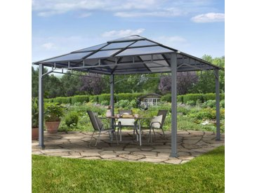 Gartenpavillon 4x4m Polycarbonat-Platten 8 mm wasserdicht loft grey
