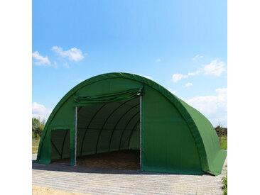 Sehr stabile Rundbogenhalle 9,15m x 10m x 4,5m - PVC 720 dunkelgrün