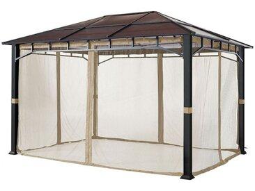 Moskitonetz (4-teilig) für Gartenpavillon Sunset Deluxe 3x4m, champagnerfarben
