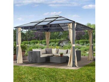 Gartenpavillon 4x4m Polycarbonat-Platten 8 mm wasserdicht champagnerfarben