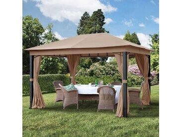 Gartenpavillon 3x4m Polyester mit PU-Beschichtung 220 g/m² wasserdicht cappuccino