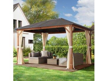 Gartenpavillon 3x4m galvanisierter Stahl 0,65 mm wasserdicht champagnerfarben