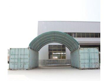 Container Überdachung 6x6 m, PVC 720 feuersicher dunkelgrün