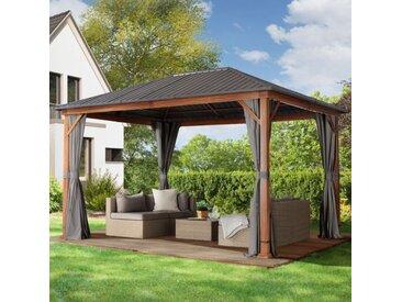 Gartenpavillon 3x4m galvanisierter Stahl 0,65 mm wasserdicht loft grey