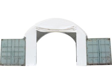 Frontwand für Container Überdachung 6m Breite mit Easy-up-Eingang, PVC 720 feuersicher, weiß