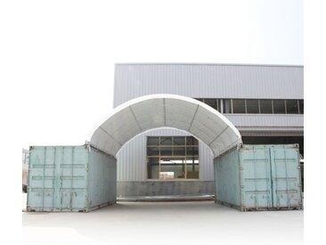 Container Überdachung 6x6 m, PVC 720 feuersicher weiß