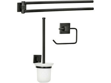 Fackelmann NEW YORK Accessoires Set Handtuchstange Toilettenpapierhalter/WC Garnitur Schwarz