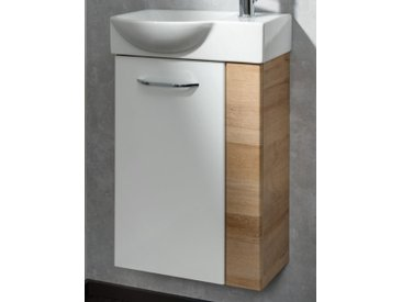 Fackelmann MILANO Gäste-WC Set 45 cm, links, Braun hell/Weiß, 2-teilig