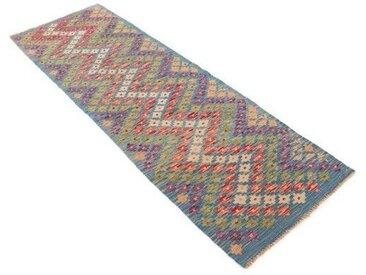 Handgefertigter Kelim-Teppich Brayson aus Wolle in Blau