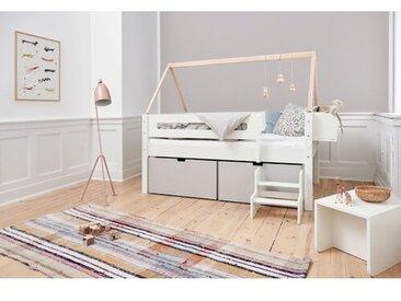 Halbhochbett Nanna mit Regalen und Schubladen, 90 x 160 cm