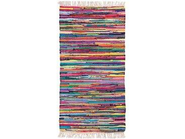 Flachgewebe-Teppich aus Baumwolle in Gelb/Rosa