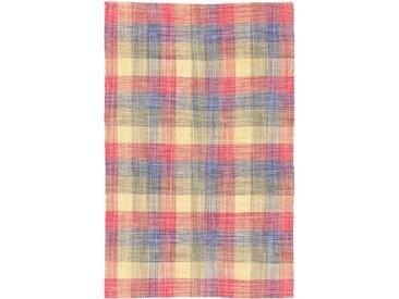 Handgefertigter Kelim-Teppich Ella aus Baumwolle in Rot