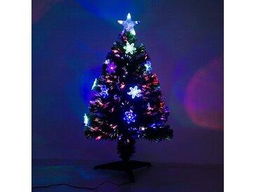 Künstlicher Weihnachtsbaum 88 cm in Grün mit 12 bunten LED-Leuchten und Ständer
