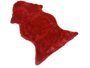 Wohnbereichteppich Fellimitat in Rot