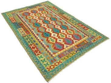 Handgefertigter Kelim-Teppich Rozell aus Wolle in Grün