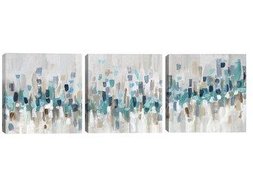3-tlg. Leinwandbilder-Set Blue Staccato