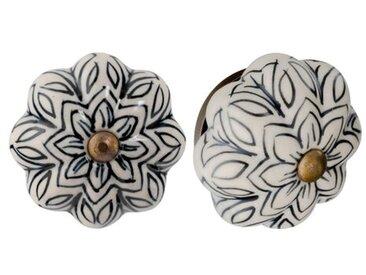 Handbemaltes Türgriff-Set Blume