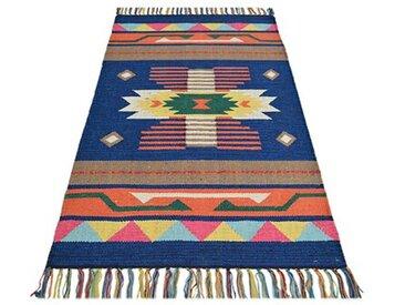 Handgefertigter Kelim-Teppich Country aus Baumwolle in Blau/Orange/Braun
