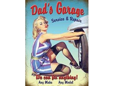 Dad's Garage' Grafik Kunstdruck auf Metall