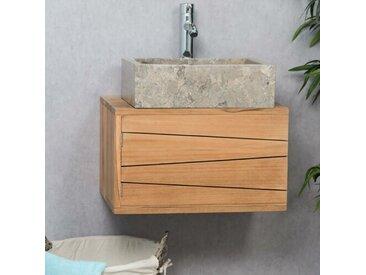 50 cm breiter wandmontierter Einzelwaschtisch Gabbert aus Massivholz