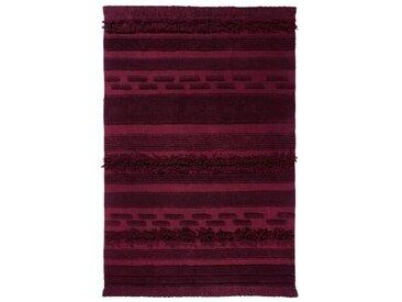 Handgefertigter Flachgewebe-Teppich aus Baumwolle in Burgunderrot