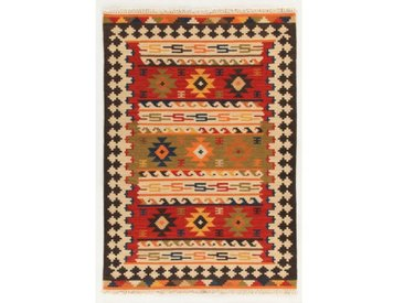 Handgefertigter Kelim-Teppich aus Wolle/Baumwolle in Rot/Braun