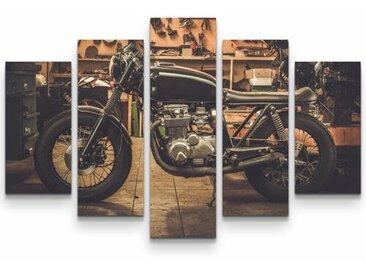 5-tlg.Leinwandbilder-SetCafe Racer Motorrad in Garage