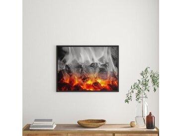 Gerahmtes Wandbild brennende Holzkohle in Kamin