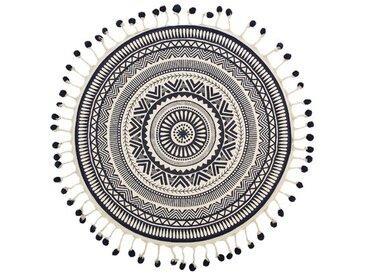 Handgefertigter Teppich aus Baumwolle in Cremefarben/Schwarz