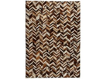 Handgefertigter Teppich Esters aus Kuhfell in Braun/Weiß