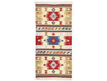 Handgefertigter Kelim-Teppich aus Wolle/Baumwolle in Rot/Blau